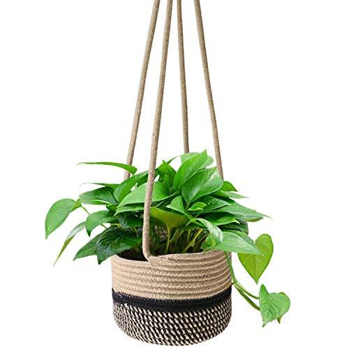 Sfee Hanging Rope Planter Basket, 8'x6' Hand Woven Plant Holder Modern Long Cord Plant Hanger Flower Pot Storage Home Decor Baskets for Indoor Outdoor Planters Toys(Beige Black Stripe)