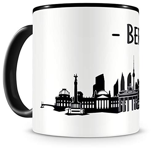 Samunshi® Berlin Skyline Tasse Kaffeetasse Teetasse H:95mm/D:82mm schwarz