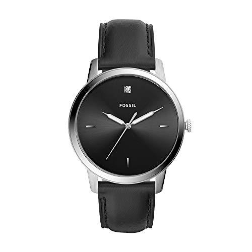Fossil Men Minimalist Carbon Series Quartz Stainless Steel Diamond Accent Dress Watch, Color: Silver, Black (Model: FS5497)
