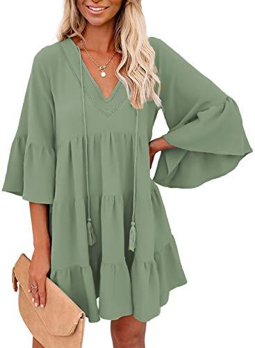 GOSOPIN Women Tunic Dress V Neck Ruffle Swing Shift Dresses Small Solid Green