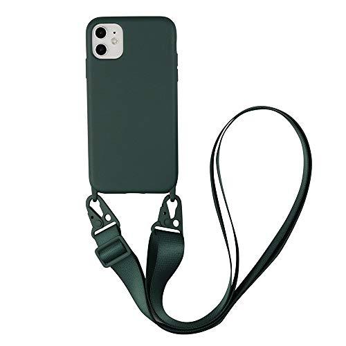 Crossbody - Funda para iPhone 6Plus/7Plus/8Plus, correa de teléfono con cordón ajustable, cuerda desmontable, funda de silicona suave con cordón para iPhone 6p/7p/8p 5.5 (iPhone 7/8, verde militar)