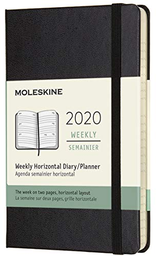 Moleskine Agenda Settimanale Orizzontale 12 Mesi, Copertina Rigida e Chiusura ad Elastico, Colore Nero, Dimensione Pocket 9 x 14 cm