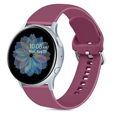 Oumida 20mm Correa Compatible con Samsung Galaxy Watch Active 40mm/Active2 40mm 44mm,Pulseras de Repuesto de Silicona Suave para Samsung Galaxy Watch 42mm/Watch 3 41mm/Gear Sport(L,Vino Rojo)