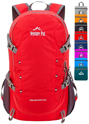Venture Pal 40L Lightweight Packable Travel Hiking Backpack Daypack, A9 Red, One Size