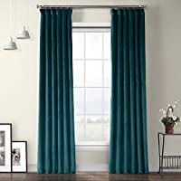 HPD Half Price Drapes VPYC-179921-84 Heritage Plush Velvet Curtain (1 Panel), 50 X 84, Deep Sea Teal