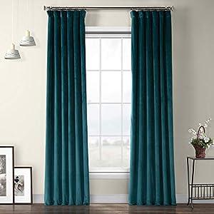 HPD Half Price Drapes VPYC-179921-96 Heritage Plush Velvet Curtain (1 Panel), 50 X 96, Deep Sea Teal