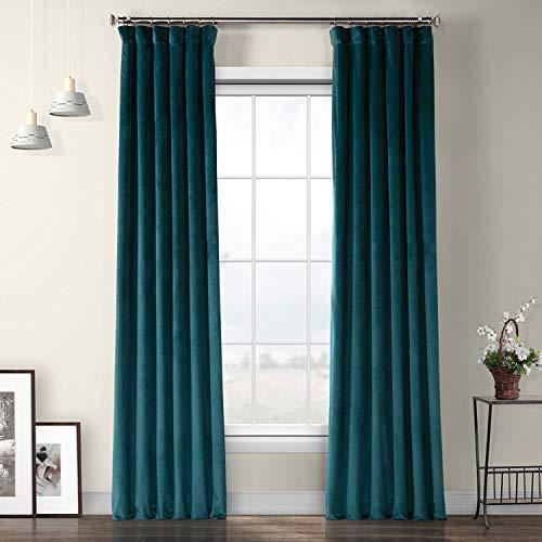 HPD Half Price Drapes VPYC Heritage Plush Velvet Curtain (1 Panel), 50 X 108, Deep Sea Teal