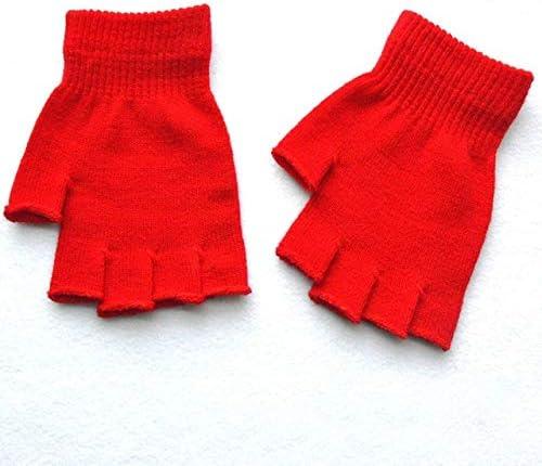 New Unisex Hot Men Women Knitted Stretch Elastic Warm Half Finger Fingerless Gloves for Winter - (Color: Red)