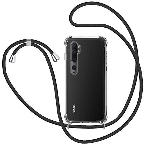 Funda con Cuerda para Xiaomi Mi Note 10, Carcasa Transparente TPU Suave Silicona Case con Correa Colgante Ajustable Collar Correa de Cuello Cadena Cordón para Xiaomi Mi Note 10 - Negro