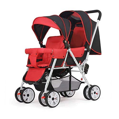 Diaod Cochecito Doble y Silla de Paseo, Pueden Sentarse Medio Tumbado 0-3 años, Cochecito de bebé recién Nacido Plegado Ligera Silla de Paseo de absorción de Impactos de los niños (Color : Red)