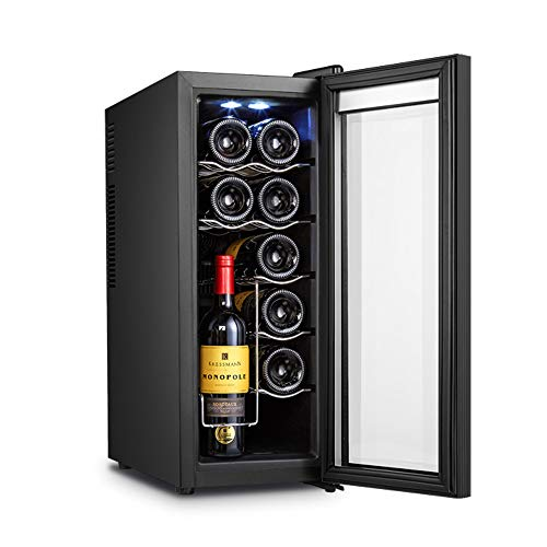 Enfriador de vino, enfriadores de gabinete de vino instalados gabinete de exhibición refrigerado gabinete de hielo doméstico pequeño, refrigerador de vino de 12 botellas, zonas de temperatura 8-18 °