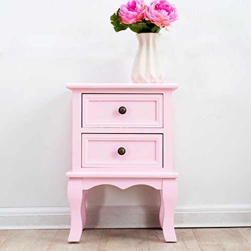 Cherry Tree Furniture Wood Pink Princess Bedside Table 2-Drawers Cabinet