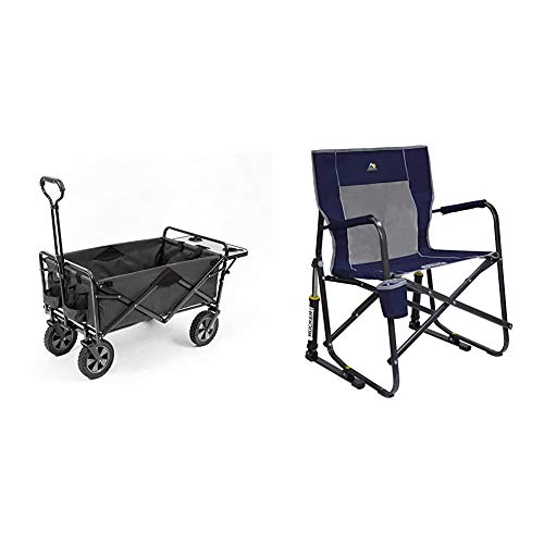 Mac Sports Collapsible Outdoor Utility Wagon with Folding Table and Drink Holders, Gray & GCI Outdoor Freestyle Rocker Portable Folding Rocking Chair, Indigo