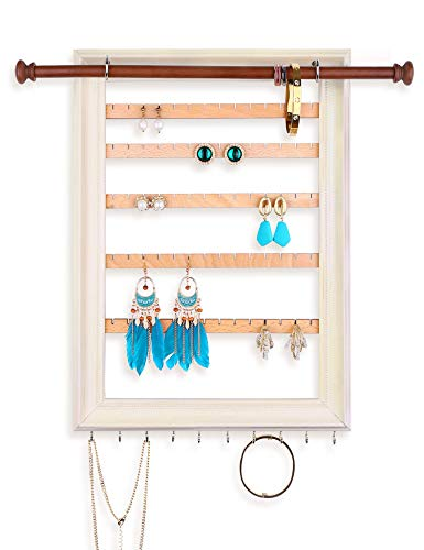 Mymazn Hanging Earring Organizer Wall Mounted Jewelry Organizer Frame Earring Wall Holder Rustic Jewelry Hanger for Women, Girls | Wooden Jewelry Display with Bracelet Necklace Holder Rod (beige)
