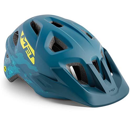 MET Kinder Fahrradhelm Eldar MIPS, 52-57 cm, Petrol Camo, 570025-MIPS