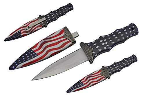 Rite Edge Dagger   American Flag Stars and Stripes Boot Knife Stainless Steel 3.5' Blade