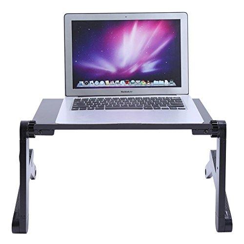 AYNEFY Soporte para PC con ventiladores, soporte para ordenador portátil, ajustable, mesa de ordenador plegable, ordenador portátil de cama/sofá/escritorio, negro, 420 x 260 mm