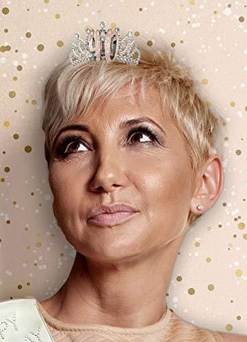 Alandra Birthdays TIARA-40 - Tiara per 40° compleanno, in confezione regalo, colore: Crema e argento rosa, taglia unica