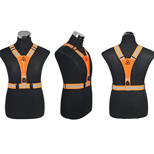 Reflective Vest,(2 Pieces) Running Vest Men Women for Over Jacket,High Visibility Reflective Cycling Gear Night Walking Jogging Dog Riding,Early Morning and Night Activities,Orange,with light