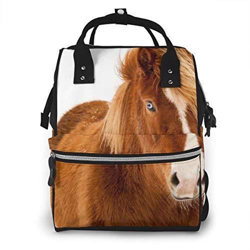 GXGZ Sac à dos à couches imperméable Winter Horse Animal World, compartiment avec deux poches et huit rangements, sacs d'allaitement élégants et durables pour les parents