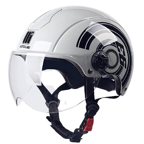 Metà Aperto Faccia Casco del Motociclo Con Occhialoni ,Casco Modulare Scooter,L'anti-collisione Protegge la Sicurezza Stradale Degli Utenti Certificazione DOT/ECE B1,54-61CM