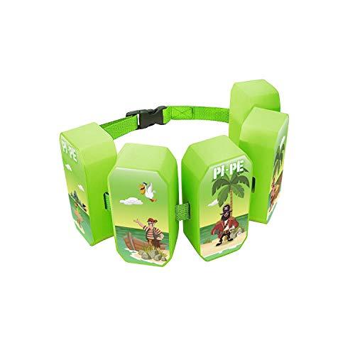 PI-PE Schwimmgürtel für Kinder - Schwimmhilfe ideal zum lernen und toben - 5 Blöcke je nach Fortschritt entfernbar - schönes Design für Jungen und Mädchen, grün, One Size