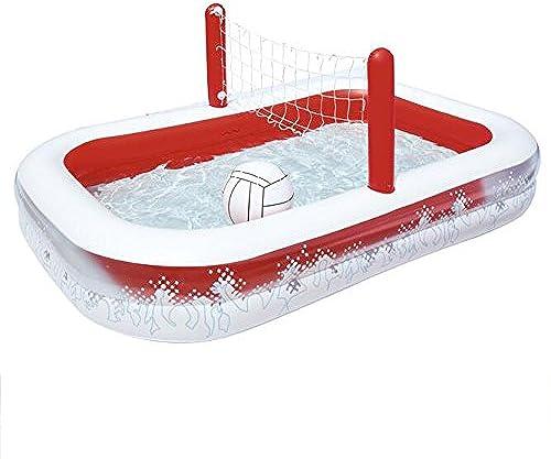 LZTET Rechteckiger Aufblasbarer Familien-Pool Größer Luxus-faltender Wannen-Garten-im FreienFußball-Spiel-Pool-Planschbecken 2 Ring 253  168  97cm RotWeiß