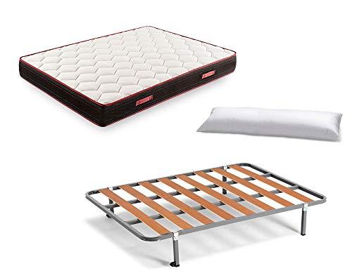 Cama Completa - Somier Basic con 4 Patas de 26 cm + Colchón Memory Fresh 3D + Almohada de Fibra, 150x190 cm