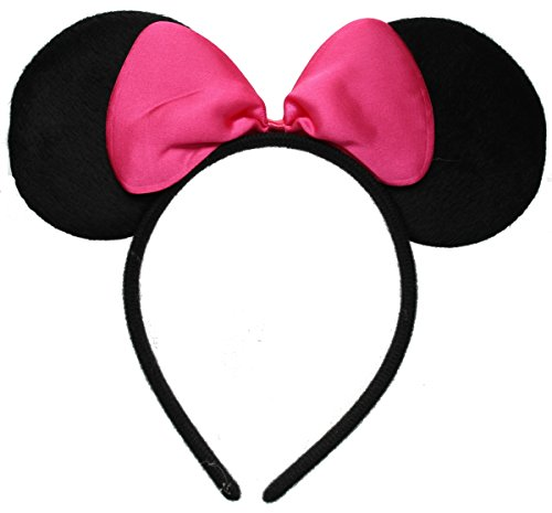 Black Mouse Ears with Pink Bow on Headband/ Aliceband.Hair Accessory