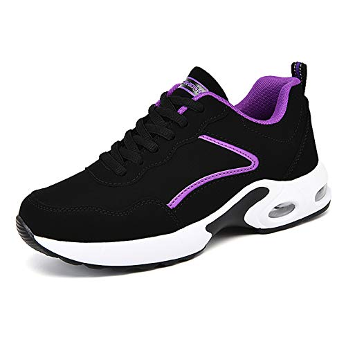 Womens Trainers Lightweight Running Walking Shoes Air Cushion Sneakers Black Purple