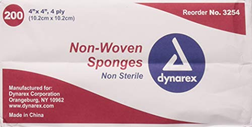 Dynarex Non-Sterile Non Woven Sponge, 4x4 Inch, 200 Count,Pack of 2