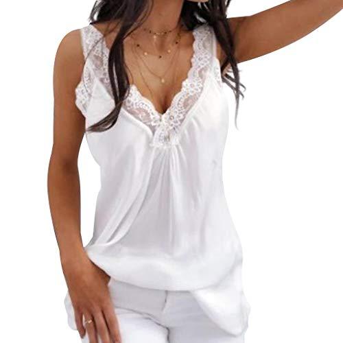 VEMOW Tops Camisas sin Mangas Casuales sin Mangas de Moda de Verano (Blanco,S)