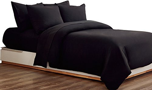 MOHAP Duvet Cover Set 3 PCS Double Plain Brushed Microfiber Bedding Duvet Cover with Pillowcases (Black)