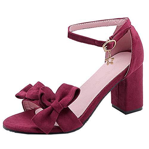 AicciAizzi Mujer Dulce Bowknot Sandalias Tacon Ancho Zapatos Verano Correa de Tobillo Punta Abierta Partido Boda Tacon Sandalias Claret Size 39 Asian