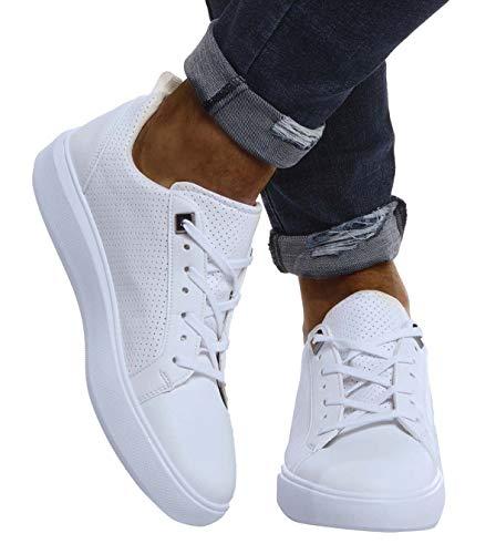 Leif Nelson Herren Schuhe für Freizeit Sport Freizeitschuhe Männer Weisse Sneaker Sommer Coole Elegante Sommerschuhe Sportschuhe Weisse Schuhe für Jungen Winterschuhe Halbschuhe LN155A; 42, Weiß