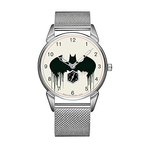 Montre-bracelet tendance pour homme en acier inoxydable argenté étanche avec logo Batman