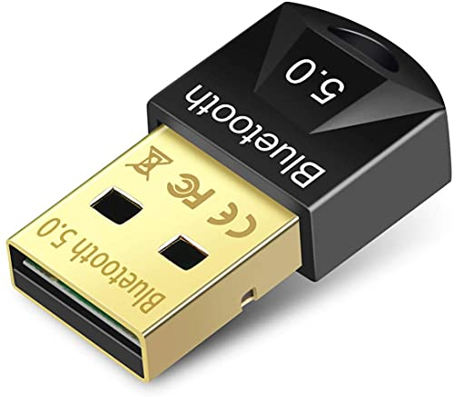 Adaptador Bluetooth 5.0 Mini Dongle, Llave Bluetooth Receptor Emisor, USB Adaptador Bluetooth para impresora / Cascos / Ratones / Teclado/PC / Smartphone / Tablet Compatible con Windows 10/8.1/8/7