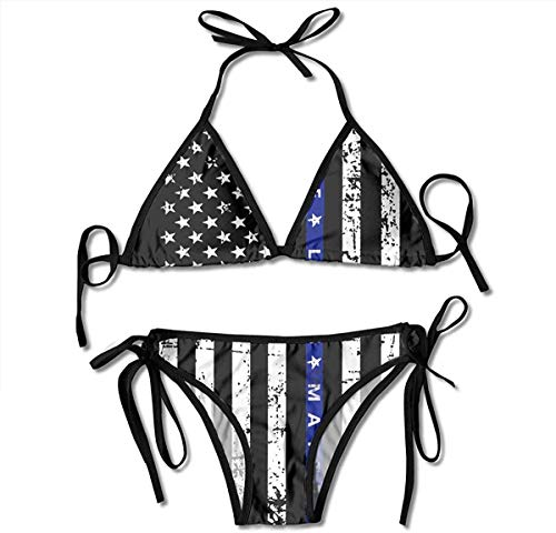 VTYOSQ Badeanzug Thin Blue Line Damen Wrap Top Bottom Badeanzug Bikini Bademode Zweiteiliger Badeanzug