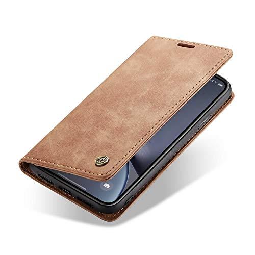 zanasta Custodia in Pelle Compatibile con iPhone 8 Plus / 7 Plus (5,5') Chiusura Magnetica, Funzione di Supporto, Slot per Scheda Cover Marrone Chiaro