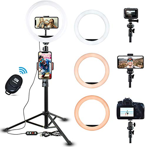 TINOSP 10' Dimmable Selfie Ring Light with Adjustable Tripod Stand & Phone Holder for Live Stream/Makeup/YouTube Recording/Photography Video,Compatible with iPhone and Android Phone(Remote Included)