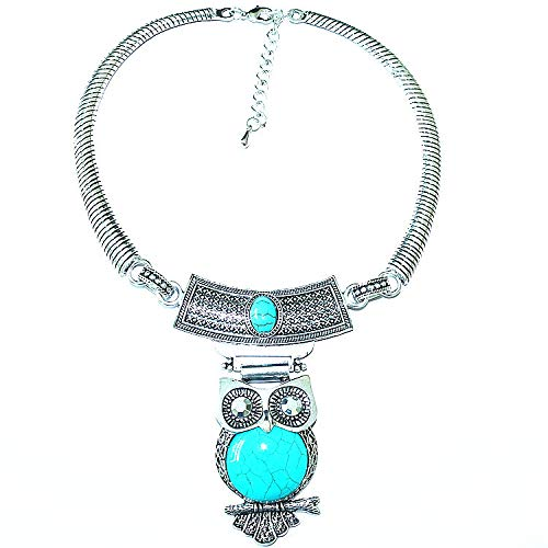 Joyería de moda turquesa concha búho colgante retro collar fiebre femenina,