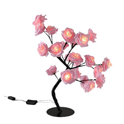 YYOMXXOM - Lámpara de mesa LED con diseño de rosas y árboles, luces de noche USB, decoración del hogar, fiestas, Navidad, boda, decoración del dormitorio (color emisor: 10)
