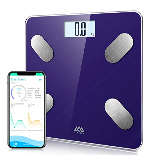 SENSSUN Bascula de Baño Digital Grasa Corporal,balanzas digitales bluetooth,Analiza la composición corporal,con 13 Funciones,IMC/músculo/grasa corporal/masa ósea(Azul)