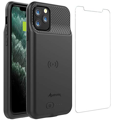 Battery Case for iPhone 11 Pro Max (6.5 inch), 5000mAh Slim Portable Protective Extended Charger Cover with Wireless Charging Compatible with Lightning Audio - BX11 Pro Max - (Black)
