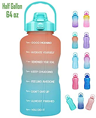 Venture Pal Large Half Gallon/64oz Motivational Water Bottle with Time Marker & Straw,Leakproof Tritan BPA Free Water Jug,Ensure You Drink Enough Water Daily for Fitness,Gym,Sports-Ombre Orange Green