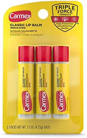 Carmex Medicated Lip Balm Sticks, Lip Moisturizer for Dry, Chapped Lips - 3 Count (2 Pack)
