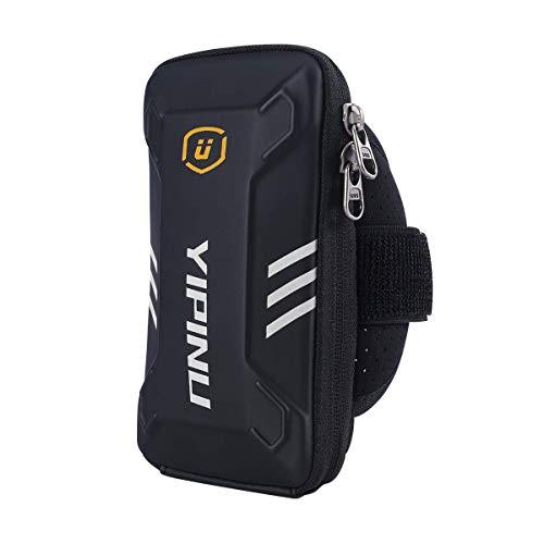 UNIVERSE Brazalete deportivo de gran capacidad, para teléfono móvil, tarjetas y llaves, ligero y antisudor (Negro)