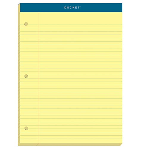 TOPS 63383 Double Docket Writing Pad, 8 1/2 x 11 3/4, Canary, 100 Sheets