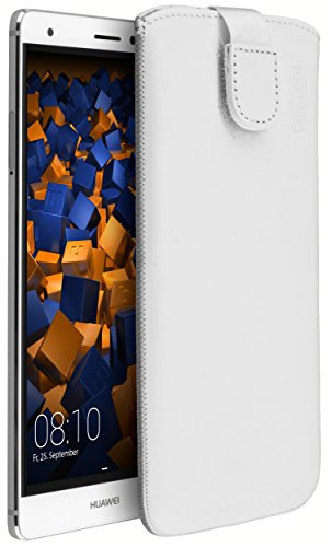 mumbi Echt Ledertasche kompatibel mit Huawei Mate S Hülle Leder Tasche Case Wallet, Weiss