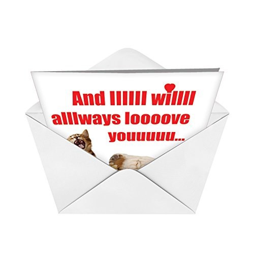 Big I Will Always Valentine's Day Card with Envelope (Letterhead 8.5 x 11 Inch) - Funny Valentines Day Cards with Dog, Cat, Animal Love - Cute, Adorable Notecard Stationery J2180 Photo #3
